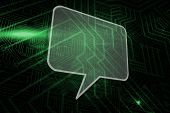 Speech bubble against green and black circuit board