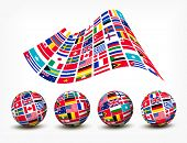 Flags of the world countries. Four globes. Vector.
