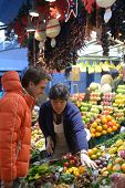 BARCELONA, SPAIN - JANUARY 9, 2013: People at the farmer's market Mercat de Sant Josep de la Boqueri