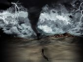 Silhouette of a man stood in the desert in the middle of a storm with tornado and lightning