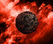 3D render of a volcanic globe with in a stormy sky with lightening