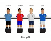 Table football, soccer players. Group D - Uruguay, Costa Rica, England, Italy