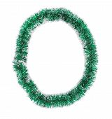 Christmas green tinsel as number 0.