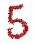 Red christmas tinsel with stars as number 5.