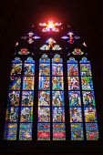PRAGUE, CZECH REPUBLIC - APRIL 27, 2012: Stained-glass Window designed by famous Czech Art Nouveau p