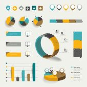 Set of flat infographic elements. Diagrams, speech bubbles, graphs, pie circle charts and icons. Vec