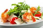 picture of tiger prawn  - Tiger Prawns and Rucola  with Parmesan Cheese and Cherry Tomato - JPG