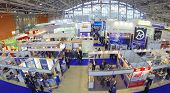 MOSCOW, RUSSIA - DEC 4, 2013: (aerial view) Exhibition Electrical Networks of Russia - 2013 in exhib