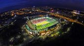 MOSCOW - OCT 21: Night view from unmanned quadrocopter to Lokomotiv Stadium with football field and