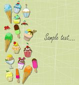 colorful cupcakes and ice cream with place for the text