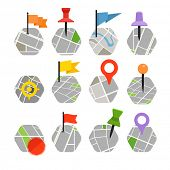 Abstract city map with symbols collection. Design elements