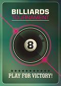 Billiards tournament poster design. Vector illustration.