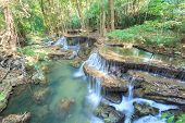 image of cataract  - Deep forest Waterfall in Kanchanaburi  - JPG