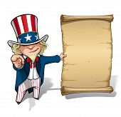 pic of uncle  - Vector Cartoon Illustration of Uncle Sam holding a declaration - JPG