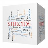 Steroids 3D Cube Word Cloud Concept