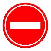 No Entry Sign, Road Traffic Warning And Pole, Isolated