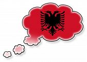 image of albania  - Flag in the cloud isolated on white background flag of Albania - JPG