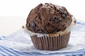 Homemade chocolate muffin on table