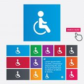 Disabled sign icon. Human on wheelchair symbol.
