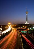 Milad Tower And Light Trails