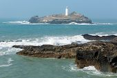 Godrevy lighthouse and island St Ives Bay Cornwall coast England UK
