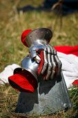 Gauntlets of medieval knight