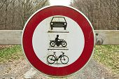 Round Traffic Sign, The Passage Of Vehicles And Motorcycles Prohibited