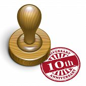 10Th Anniversary Grunge Rubber Stamp