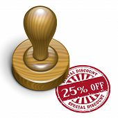25 Percent Off Grunge Rubber Stamp