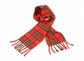 Tartan winter scarf with fringe.
