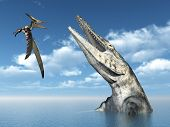 stock photo of pteranodon  - Computer generated 3D illustration with the Pterosaur Pteranodon and the Mosasaur Tylosaurus - JPG