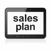 Marketing concept: Sales Plan on tablet pc computer
