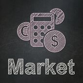 Finance concept: Calculator and Market on chalkboard background