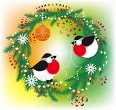 Christmas wreath and bullfinch
