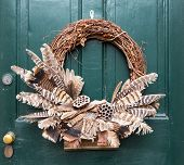 Traditional Xmas Wreath On Front Door