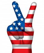 Vector image of a hand with victory sign painted in flag of USA against a white background