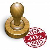 40Th Anniversary Grunge Rubber Stamp