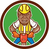 Gorilla Construction Jackhammer Circle Cartoon