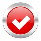 accept red circle chrome web icon isolated