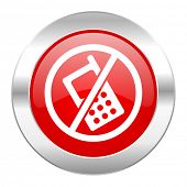 no phone red circle chrome web icon isolated