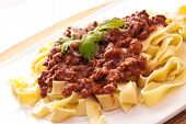 Spaghetti Bolognese With Cheese On White Plate poster