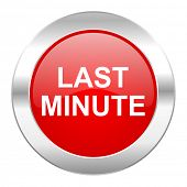 last minute red circle chrome web icon isolated