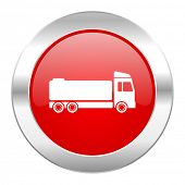 truck red circle chrome web icon isolated