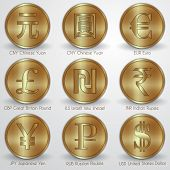 Vector illustration set of gold coins with different currency signs