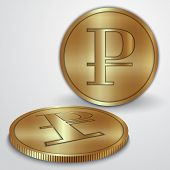 Vector illustration of gold coins with rouble currency sign