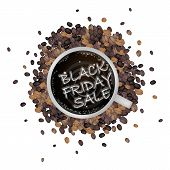 picture of friday  - Black Friday Latte Art of Milk Cream Writing Black Friday Sale on A Cup of Coffee for Black Friday Shopping Season and Biggest Discount Promotion in A Year - JPG