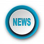 news blue modern web icon on white background