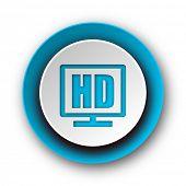 hd display blue modern web icon on white background