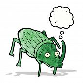 cartoon stag beetle with thought bubble