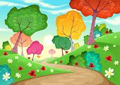 Landscape with multi-colored trees. Cartoon and vector illustration